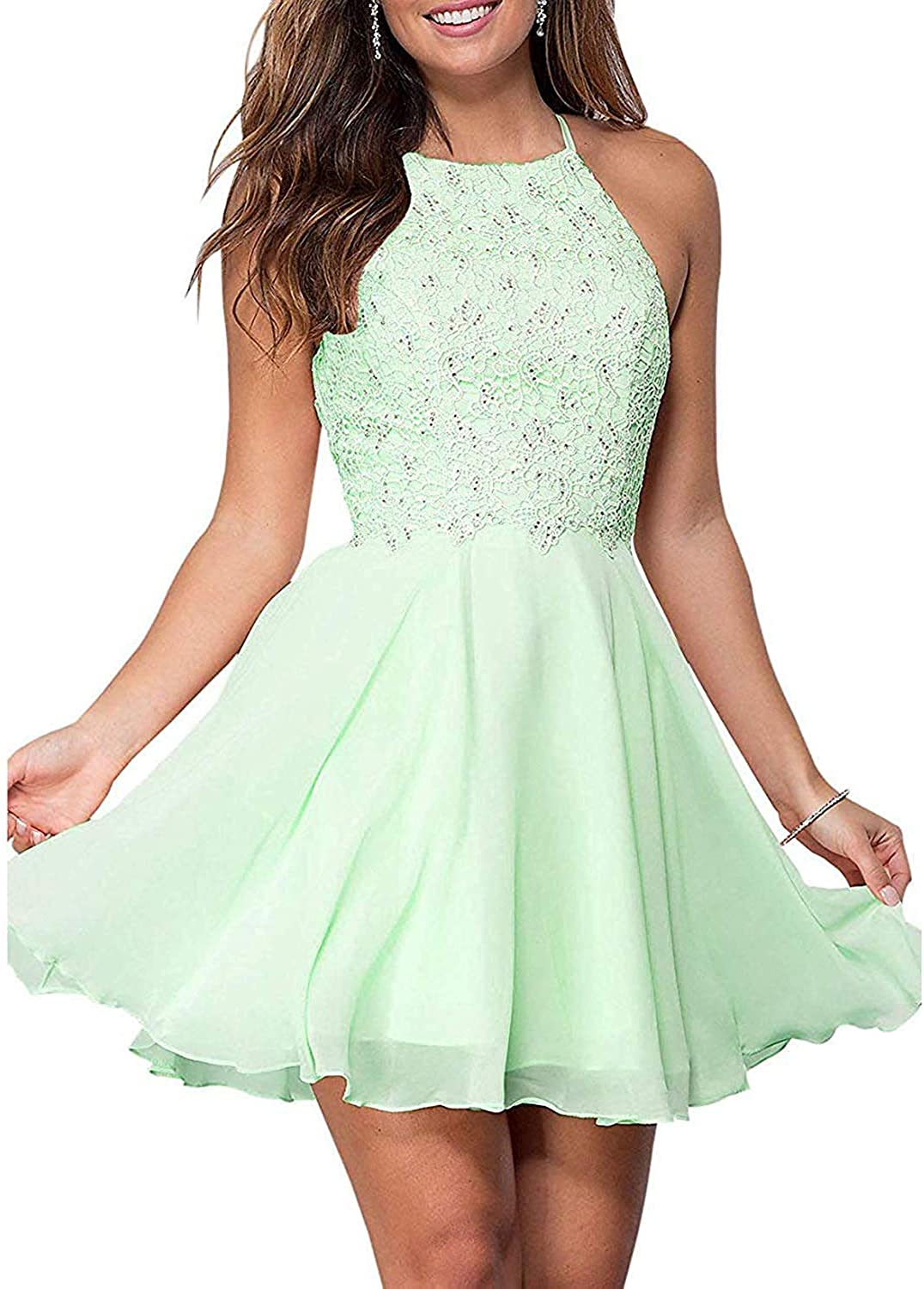 Zaozc Halter Lace Homecoming Dresses for Juniors Backless Chiffon Formal Short Prom Cocktail Gowns