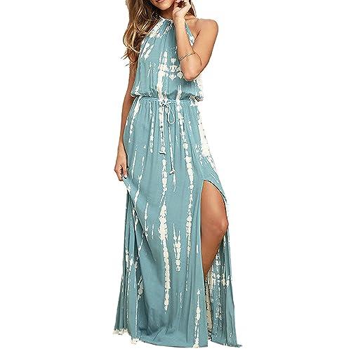 70b2528b3d BMJL Women s Dresses Adjustable Waist Backless Halter Neck Split Tie Dye  Sleeveless Maxi Beach Boho Cocktail