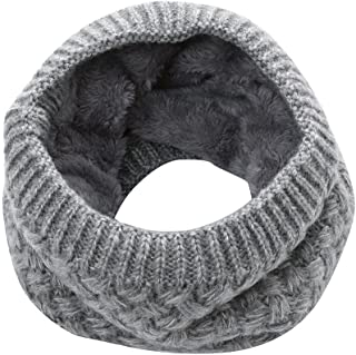 Winter Neck Scarf for Man Women Warm Lined Faux Fur Neck Knitted Scarves
