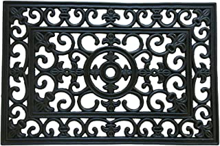 """Rubber-Cal """"Blooming"""" Outdoor Cast Iron Decorative Rubber Doormat, 18 by 30-Inch"""