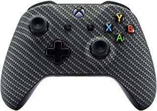 eXtremeRate Black Silver Carbon Fiber Faceplate Cover, Soft Touch Front Housing Shell Case, Comfortable Soft Grip Replacement Kit for Microsoft Xbox One X & One S Controller