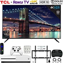 $1189 » TCL 65R617 65-inch Class 6-Series 4K HDR Roku Smart TV (2018) Bundle with Microsoft Xbox One S 1 TB Console, Wall Mount Kit, Deco Gear Wireless Keyboard and 6-Outlet Surge Adapter with Night Light