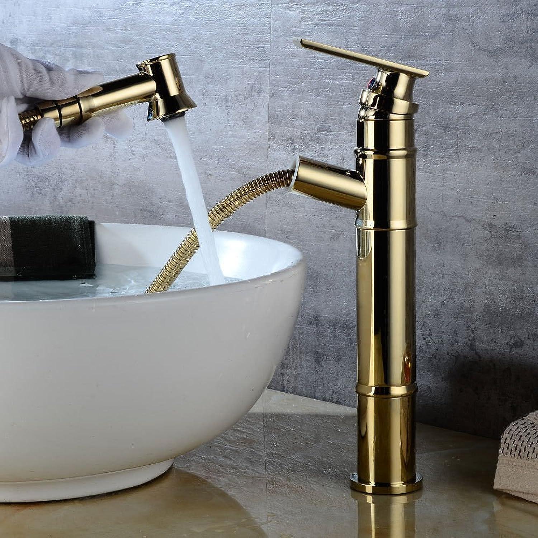 Badezimmer-Küche-Wannen-Hahn, Wasserfall Taps Gold-Pull Kaltwasser Retro-einzelnes Loch Waschbecken Waschtischmischer Taps Wasserhahn