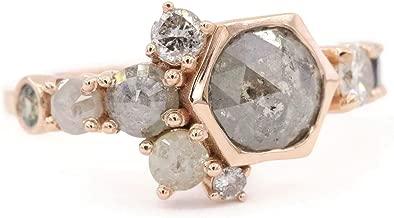 Hexagon Gray Diamond Rose Gold Cluster Engagement Ring, Salt + Pepper Rustic Diamond Ring