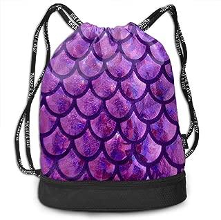 Sport Bundle Drawstring Backpack Mermaid Scale Purple Travel Durable Large Space Gym Sack Stylish Waterproof