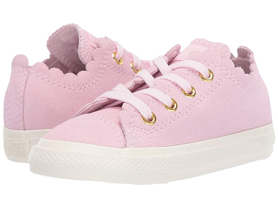 Converse Kids Chuck Taylor(r) All Star(r) Scalloped Suede Ox (Infant/Toddler) (Pink Foam/Pink Foam/Brass) Girls Shoes