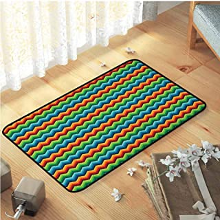 Bath Mats, Super Absorbent Cream Indoor Area Rug Luxury Carpets for Home | Chevron Pixel Art Inspired Herringbone Zigzag Pattern with Multiple Colors Abstract Squares Multicolor W31 x L47