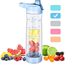 32 oz Water Bottles with Filter Fruit Infuser Water Bottle with Time Marker Clear Plastic Water Bottles BPA Free, Infusion...