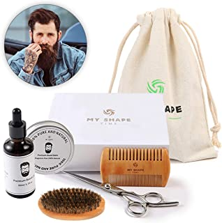 Beard Grooming Kit for Men – 100% safe and natural 2 oz beard oil 2 oz beard balm beard comb 17.50 cm beard scissors and mustache wax designed to make your beard sleek and classy