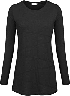 Women's Long Sleeve Round Neck Loose Fitting Athletic Shirt Running Workout T-Shirt Yoga Tops