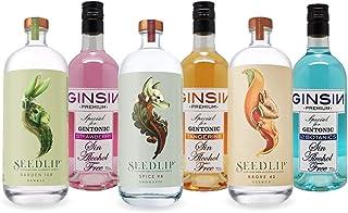 Seedlip & GINSIN Non-Alcoholic Spirits Sampler (6 Bottles) Grove 42, Spice 94, Garden 108, 12 Botanics, Strawberry, Tangerine - 700 ML Each