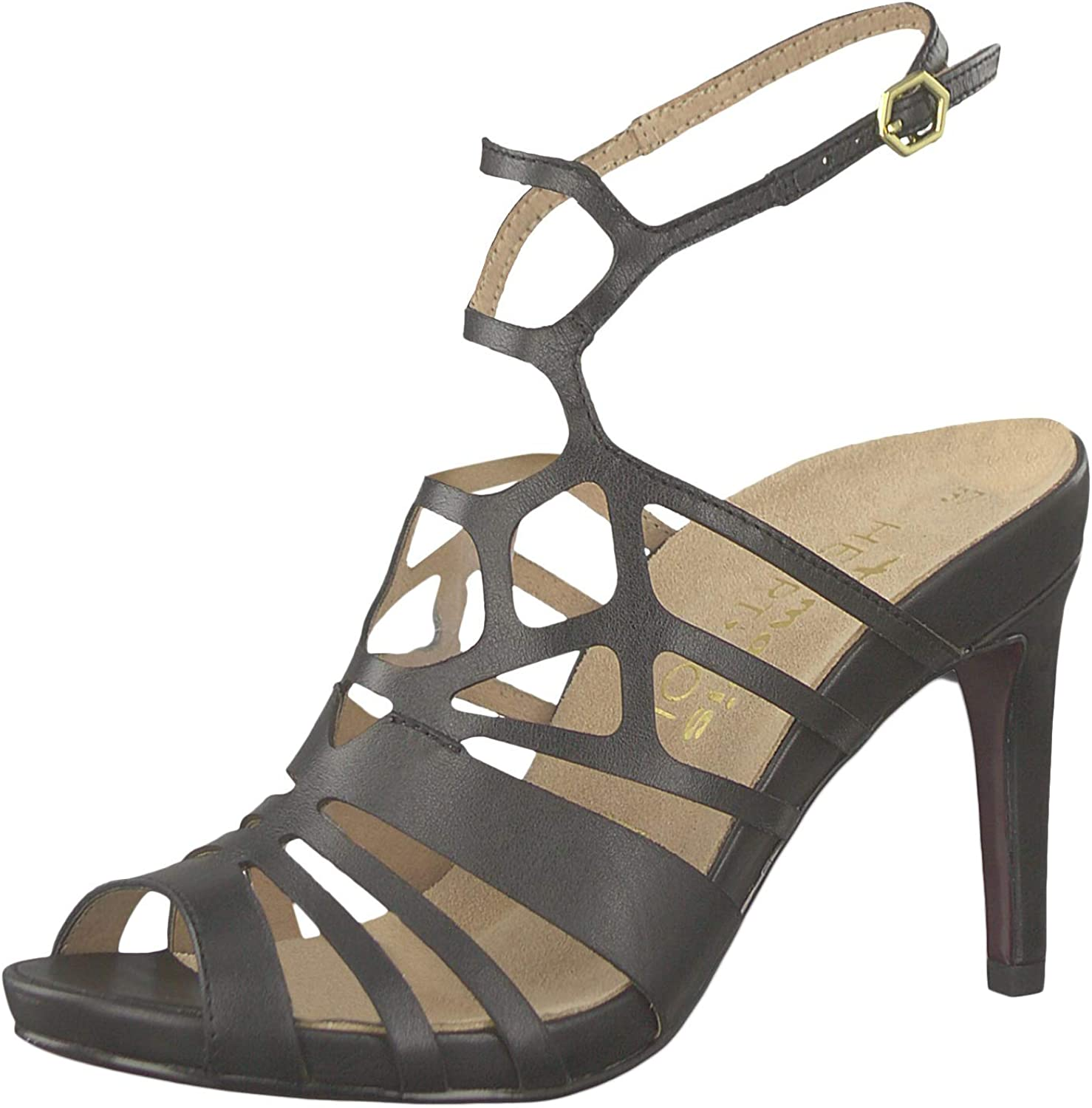 Tamaris 1-28317-22 003 Damen schwarz Leather Schwarz Sandaletten High Heeled Strappy Sandale Heart & Sole