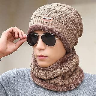 Pusaman Men's Fashion Wool Cap, Plus Velvet Warm Cold Autumn and Winter Knit hat (Color : Khaki)