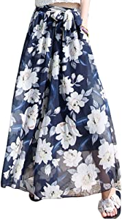 Flygo Womens Flowy High Waist Boho Floral Wide Leg Palazzo Pants Culottes