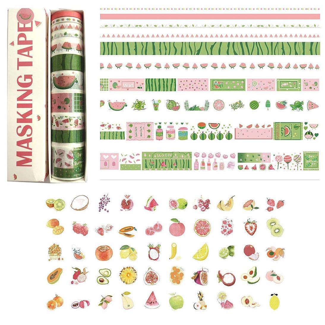 DzdzCrafts 10 Rolls Watermelon Food Story Decorative Washi Tapes Set and 6 Sheets 300+ Stickers (0.5cm 0.8cm 1.5cm 2cm 3cm Wide x 2M) lhpb686693293823