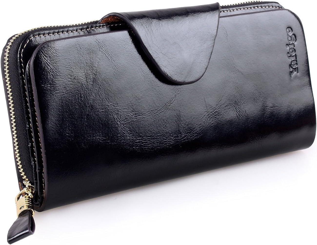 Yafeige Large Luxury Women's RFID Blocking Tri-fold Leather Wallet Zipper Ladies Clutch Purse