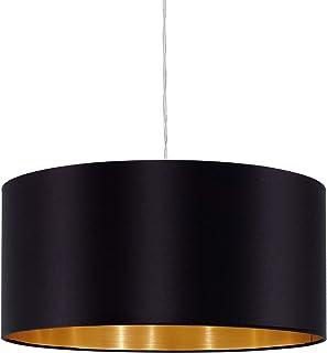 EGLO Lustre Maserlo, Suspension en Textile à Flamme, Lampe Pendante en Acier et Tissu, Couleur : Nickel Mat, Noir, Or, Dou...
