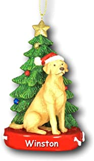 Kurt Adler Personalized Yellow Lab Labrador Retriever Dog with Santa Hat and Glittered Christmas Tree Hanging Christmas Ornament with Custom Name - 4.25 Inches