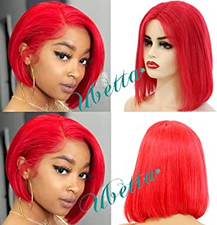 Short Bob Wig Red Human Hair Lace Front Straight Bob Wig with Middle Part Brazilian Virgin Bleached Knots Glueless Lace 13x4 Bob Wigs 180% Density 10 inch Remy Full Hair for Black Women