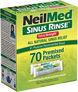 NeilMed's Sinus Rinse Extra Strength Pre-Mixed Hypertonic Packets, 70-Count Boxes (Pack of 2)