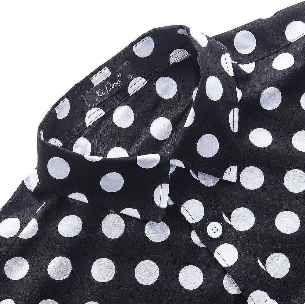 XI PENG Men's Casual Dress Cotton Polka Dots Short Sleeve Fitted Button Down Shirts