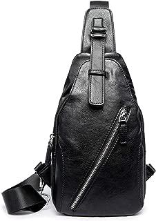 SunTrade Sling Bag,PU Leather Chest Bag Crossbody Shoulder Business Backpack Outdoor(Black)