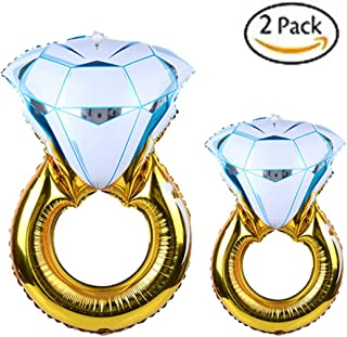 Set of 2 Diamond Wedding Ring Bachelorette Balloons for Wedding Anniversary Party Decoration Engagement Party Decorations, 2 Size