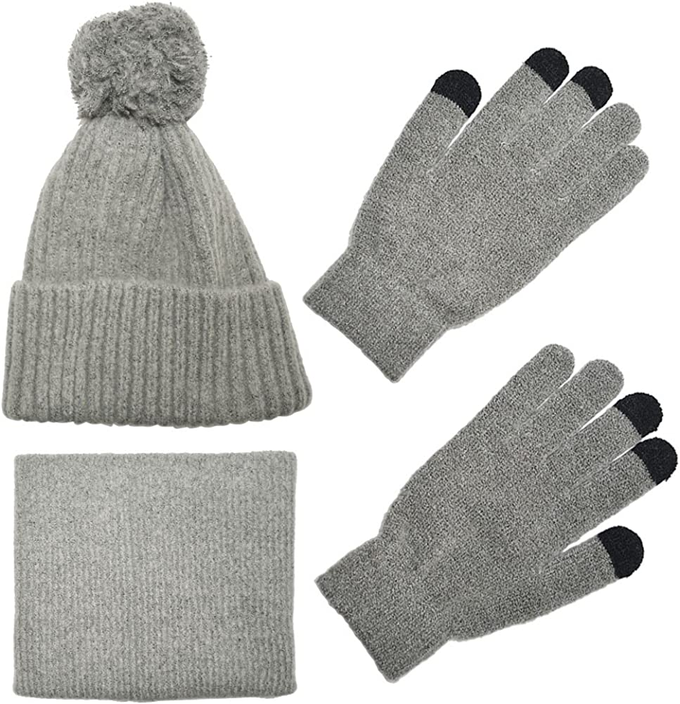 Knit Scarf/Hat/Gloves Set, Soft Warm Beanie, Touch Screen Unisex Cable Knit Winter Cold Weather Gift