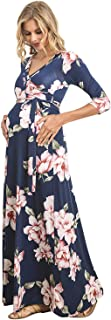 Women's Faux Wrap Maxi Maternity Dress with Belt - Made in USA