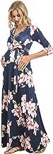 Hello MIZ Women's Faux Wrap Maxi Maternity Dress with Belt - Made in USA