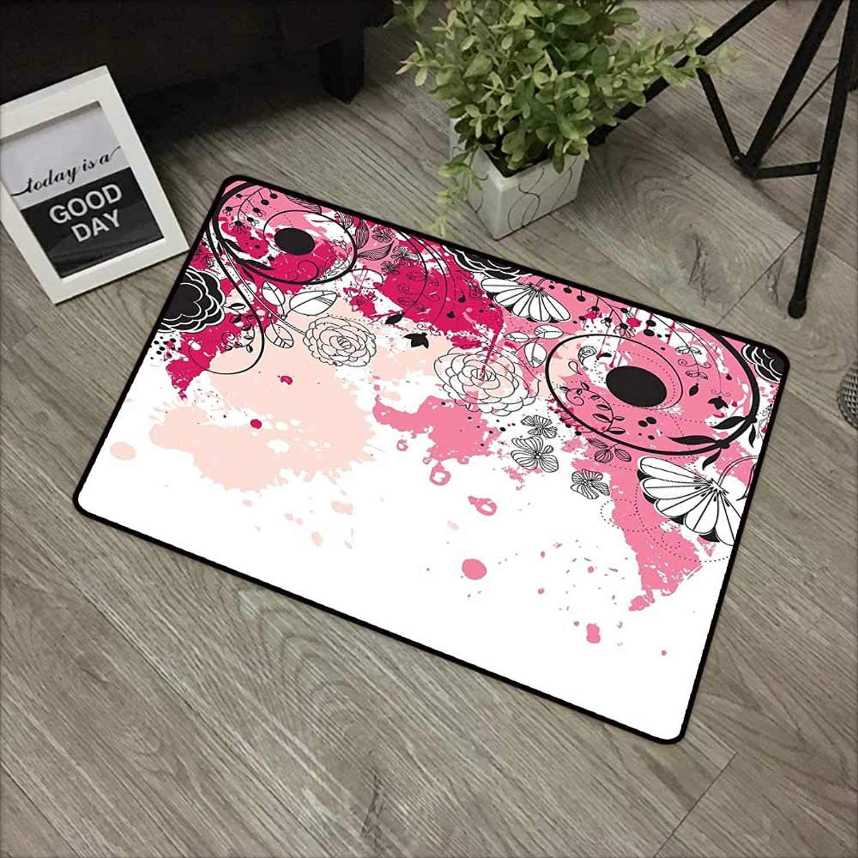 Bathroom anti-slip door mat W31 x L47 INCH Floral,Stylish Paintbrush Flower Petals Flourishing Blooms in Watercolor Artwork,Baby Pink Black Peach Non-slip, with non-slip backing,Non-slip Door Mat Carp