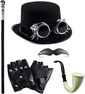 Tigerdoe Steampunk Halloween Costumes - 6 Pack - Steampunk Hat with Goggles - Steampunk Accessories - Gentleman's Costume