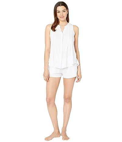 Donna Karan Sleeveless Tank Boxer Pajama Set (White) Women