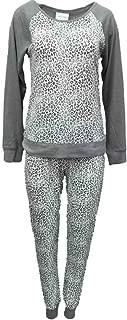Willow Bay Womens Gray White Leopard Print Pajamas Soft Knit Pajama Sleep Set