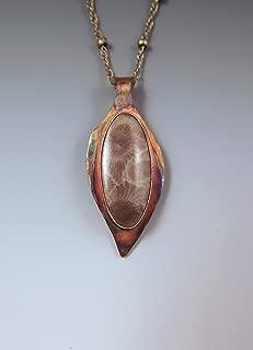 Michigan Petoskey Stone Necklace- Rainbow Patina- Michigan Made- Michigan State Stone- Fossil- Petoskey Necklace