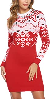 Aibrou Long Sleeve Sweater Dresses for Women Round Neck Christmas Cable Knit Tunic Sweater Pullover
