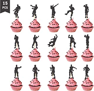 15Pcs Video Gaming Cupcake Toppers Dance Cake Topper for Party Birthday Decoration