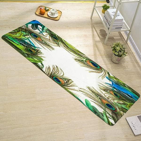 WSHINE 15 7 47 2 Peacock Feather Floor Runner Rug Kitchen Mats Indoor Outdoor Doormat Window Room Bath Mat White Green