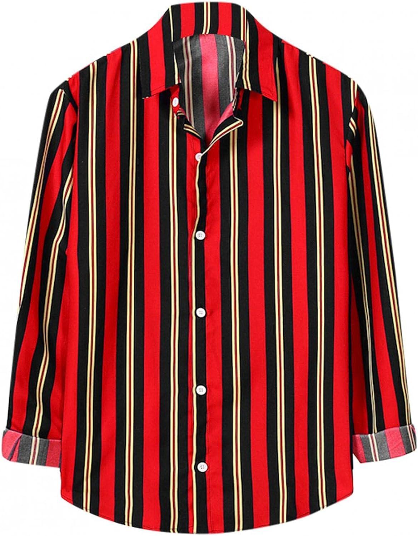 Burband Mens Tropical Long Sleeve Button Down Shirts Vertical Striped Loose Fit Beach Tops Summer Aloha Hawaiian Shirts