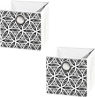 Sanixa U6GMB454 Lot de 2 paniers de rangement pliables 12 x 12 cm Blanc Noir Moderne Boîte de rangement rectangulaire