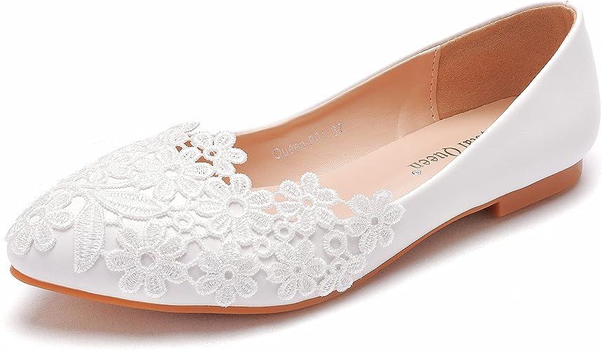 Crystal Queen Damen Ballett Schuhe Weisse Spitze Fur Hochzeit Flache Schuhe Spitzer Zehenbereich Ubergrosse Fur Hochzeit Party Kleid Amazon De Schuhe Handtaschen
