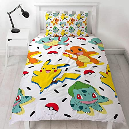 Juego de Funda de edredón Individual de Pokémon, Reversible de Dos Caras con Pikachu, Squirtle & Charmander con Funda de Almohada a Juego, Multicolor, ...