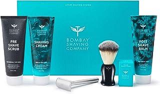 Bombay Shaving Company Complete Shaving Kit (Razor,Blades, Shaving Brush, Scrub, Cream, Balm) with Free Towel and Protection Cover