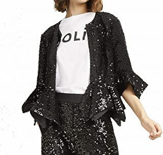 French Connection Women's Jacket Black US Size 10 Open Front Sequin
