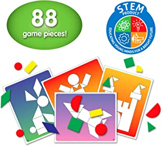 The Learning Journey: Match It! - Shape Shuffle - Tangram STEM - STEAM Game - 88 Pieces and 34 Double Sided Design Cards