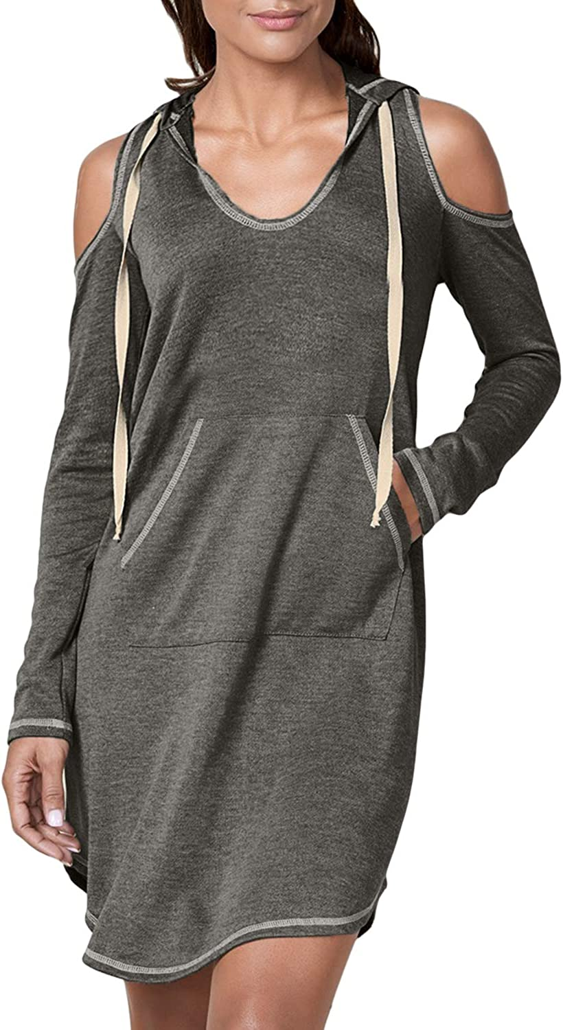 Sidefeel Women Casual Long Sleeve Cold Shoulder Drawstring Hooded Dress Medium Grey