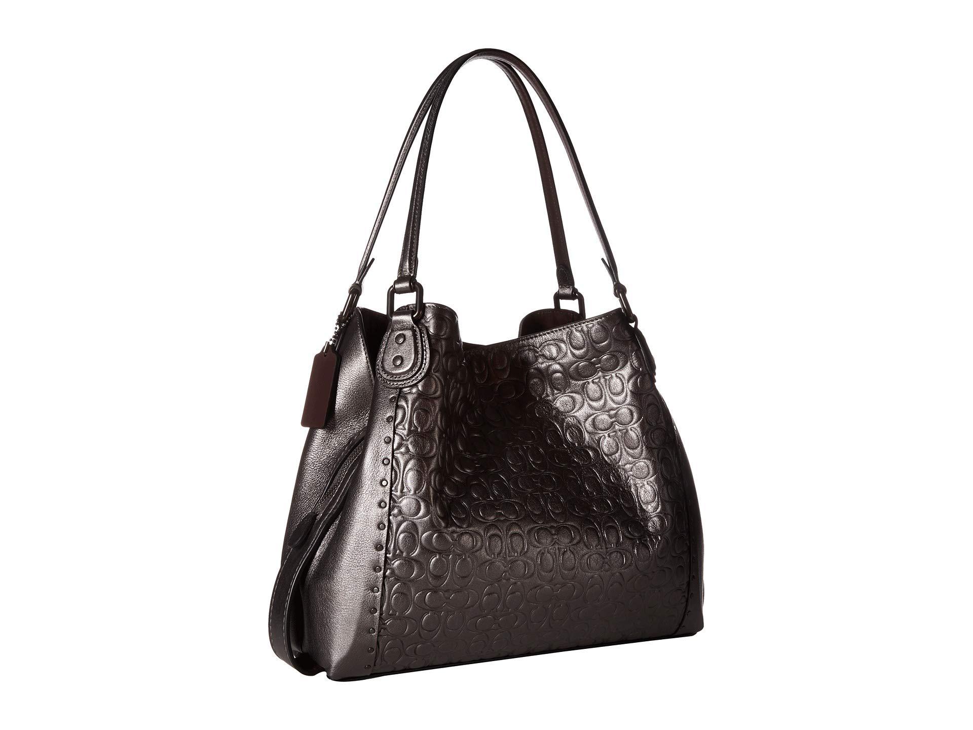Border Graphite Bag metallic Metallic With Rivets Signature Shoulder Coach V5 Edie 31 Leather HpwOqZAS