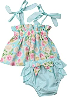 Urkutoba 0-4T Toddler Baby Girls Summer Shorts Clothes Halter Sleeveless Floral Dress Suit Ruffle Short Pants Casual Outfits