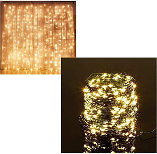 Twinkle Star 300 LED Curtain Lights | 200 LED Christmas Fairy String Lights, Warm White