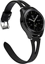 TOYOUTHS Leather Bands Compatible with Samsung Galaxy Watch 42mm/Galaxy Active 2 40mm 44mm Strap Women Men Genuine Leather Wristband Replacement for Gear S2 Classic/Gear Sport 20mm Pins Black